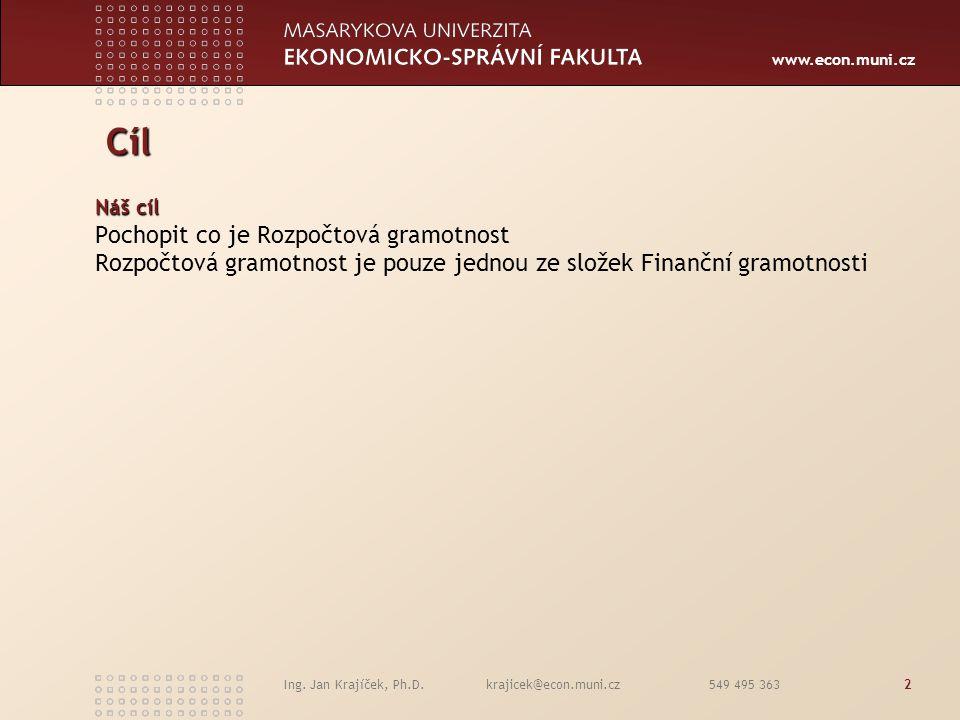 www.econ.muni.cz Ing. Jan Krajíček, Ph.D. krajicek@econ.muni.cz 549 495 3632 Cíl Cíl Náš cíl Pochopit co je Rozpočtová gramotnost Rozpočtová gramotnos