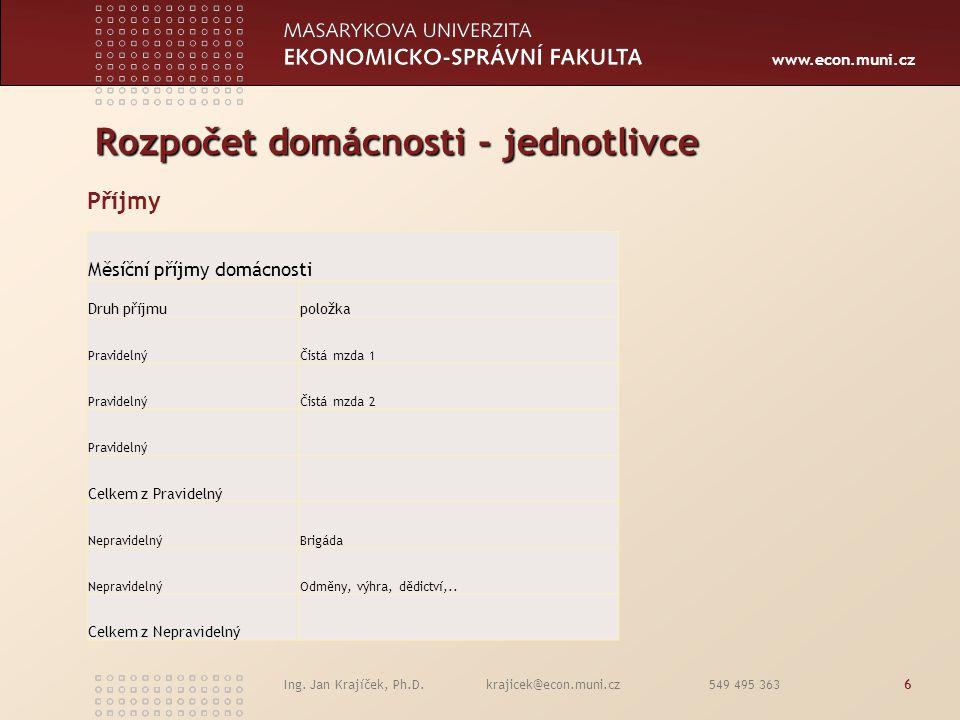 www.econ.muni.cz Ing. Jan Krajíček, Ph.D. krajicek@econ.muni.cz 549 495 3636 Rozpočet domácnosti - jednotlivce Příjmy  Cena výrobku  Cena služby  C