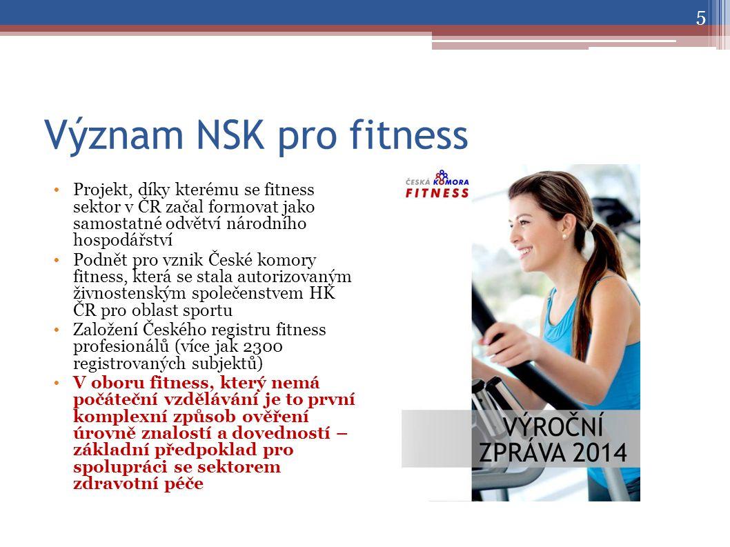 Význam NSK pro fitness Projekt, díky kterému se fitness sektor v ČR začal formovat jako samostatné odvětví národního hospodářství Podnět pro vznik České komory fitness, která se stala autorizovaným živnostenským společenstvem HK ČR pro oblast sportu Založení Českého registru fitness profesionálů (více jak 2300 registrovaných subjektů) V oboru fitness, který nemá počáteční vzdělávání je to první komplexní způsob ověření úrovně znalostí a dovedností – základní předpoklad pro spolupráci se sektorem zdravotní péče 5