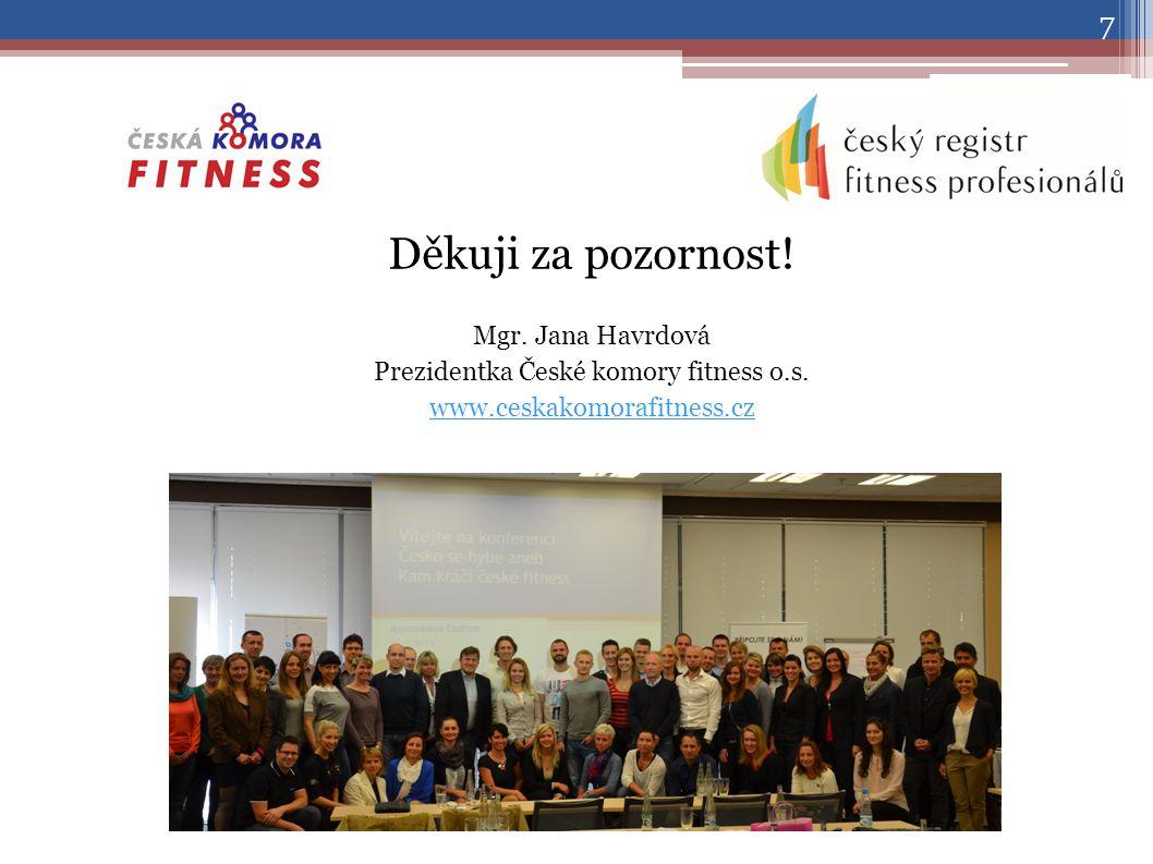Děkuji za pozornost. Mgr. Jana Havrdová Prezidentka České komory fitness o.s.