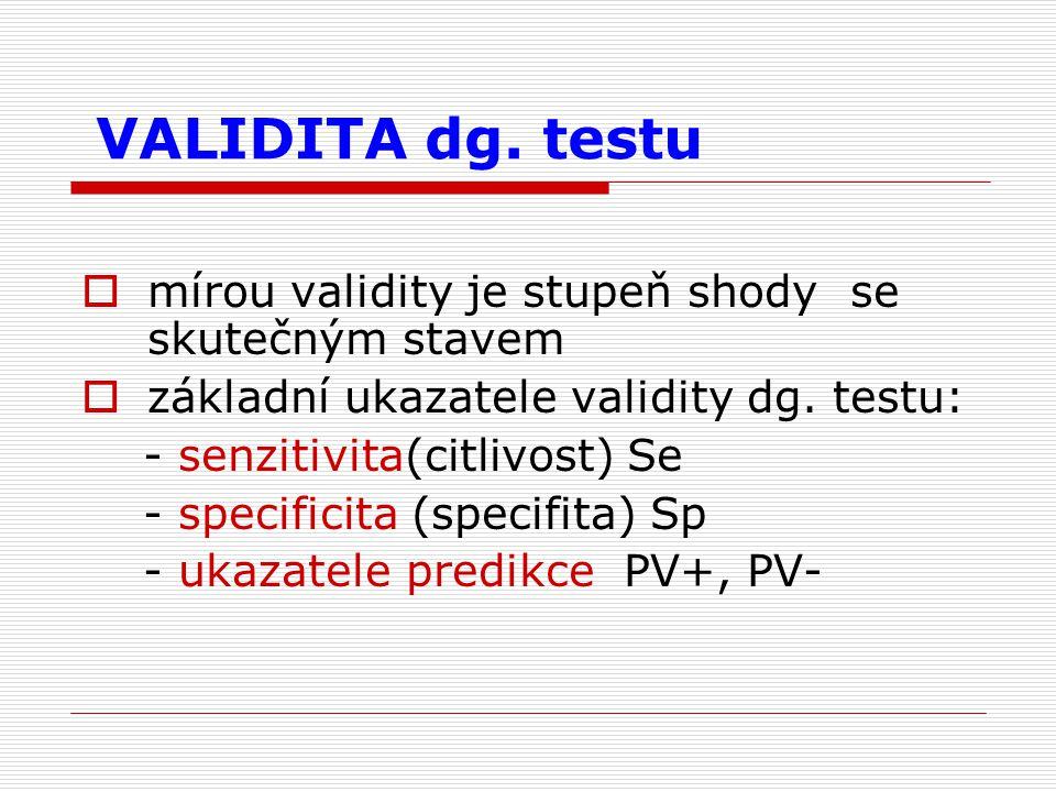 VALIDITA dg. testu  mírou validity je stupeň shody se skutečným stavem  základní ukazatele validity dg. testu: - senzitivita(citlivost) Se - specifi