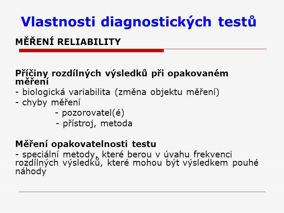 Vlastnosti diagnostických testů MĚŘENÍ RELIABILITY Příčiny rozdílných výsledků při opakovaném měření - biologická variabilita (změna objektu měření) - chyby měření - pozorovatel(é) - přístroj, metoda Měření opakovatelnosti testu - speciální metody, které berou v úvahu frekvenci rozdílných výsledků, které mohou být výsledkem pouhé náhody