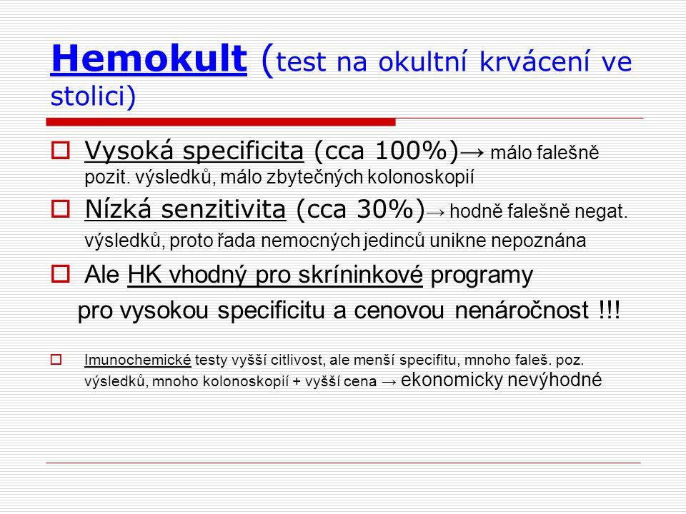 Hemokult ( test na okultní krvácení ve stolici)  Vysoká specificita (cca 100%) → málo falešně pozit. výsledků, málo zbytečných kolonoskopií  Nízká s