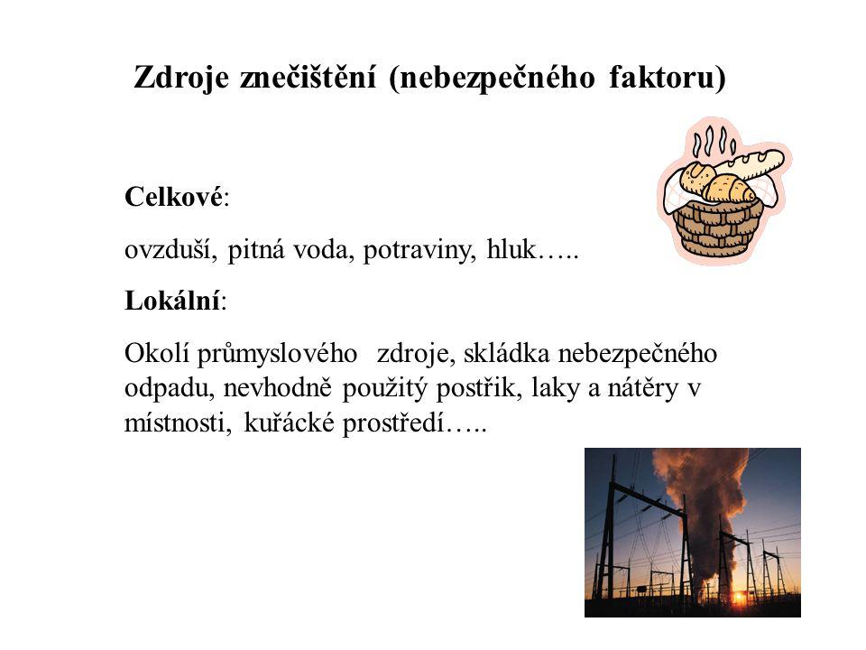 Zdroje znečištění (nebezpečného faktoru) Celkové: ovzduší, pitná voda, potraviny, hluk….. Lokální: Okolí průmyslového zdroje, skládka nebezpečného odp