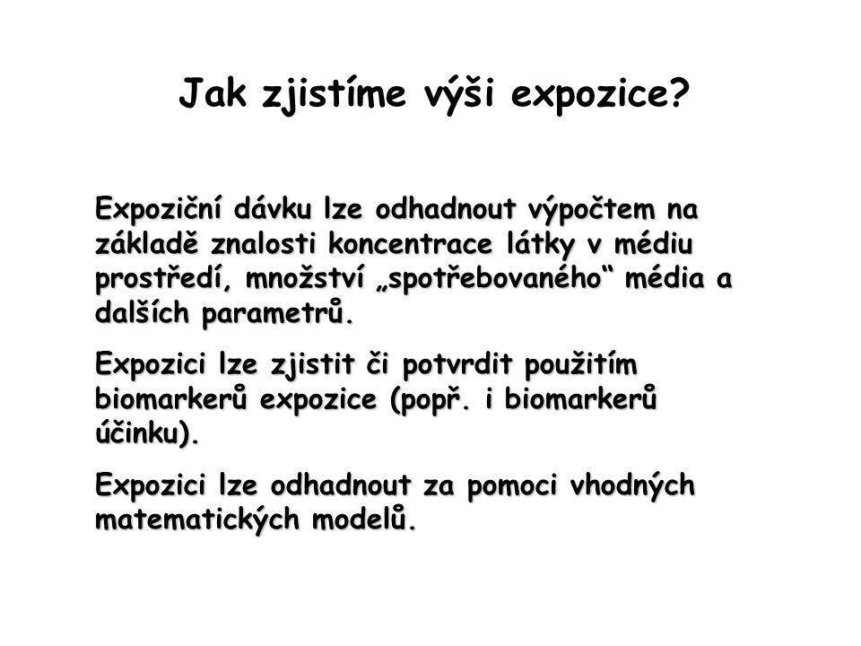 """Jak zjistíme výši expozice? Expoziční dávku lze odhadnout výpočtem na základě znalosti koncentrace látky v médiu prostředí, množství """"spotřebovaného"""""""