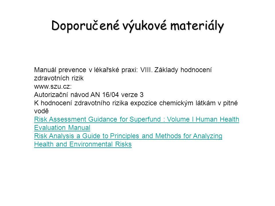 Doporučené výukové materiály Manuál prevence v lékařské praxi: VIII. Základy hodnocení zdravotních rizik www.szu.cz: Autorizační návod AN 16/04 verze
