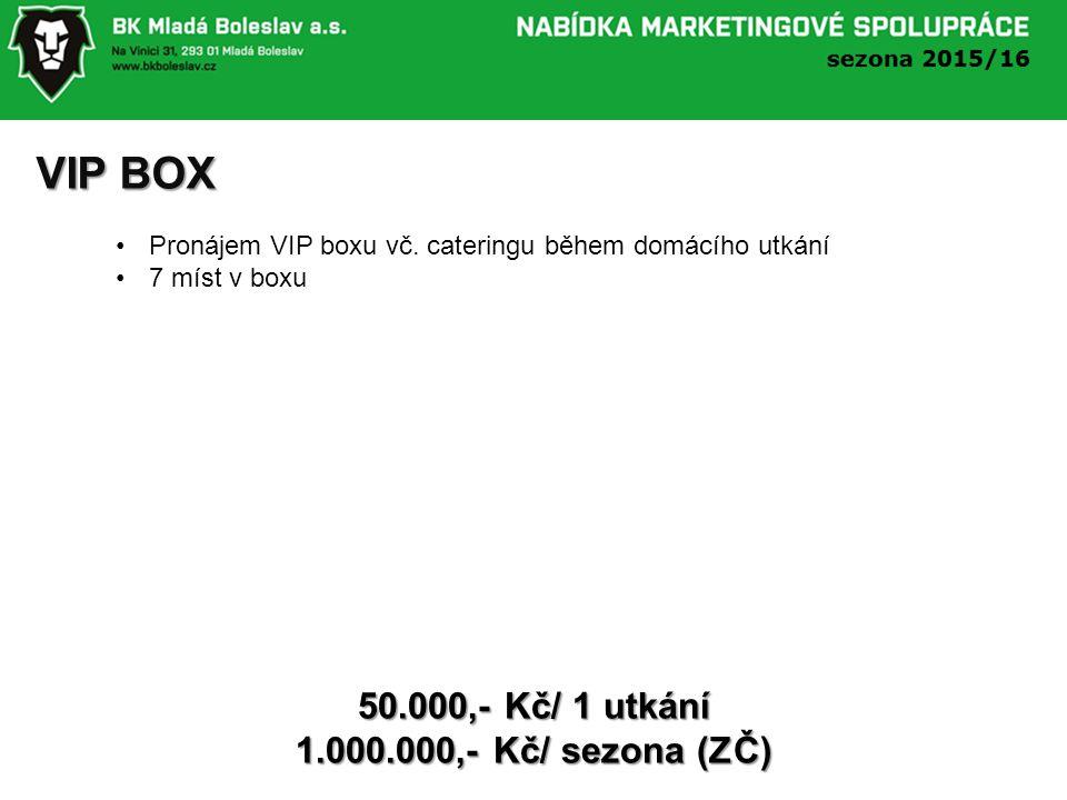 VIP BOX 50.000,- Kč/ 1 utkání 1.000.000,- Kč/ sezona (ZČ) Pronájem VIP boxu vč.