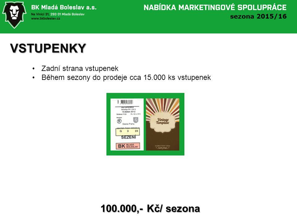 VSTUPENKY Zadní strana vstupenek Během sezony do prodeje cca 15.000 ks vstupenek 100.000,- Kč/ sezona