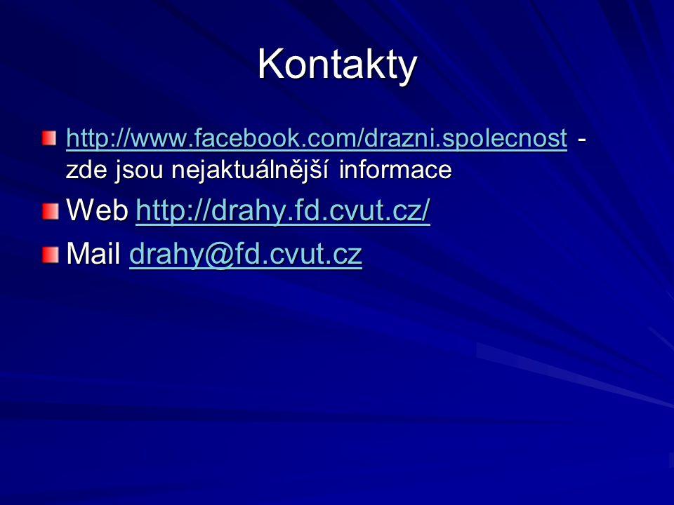 Kontakty http://www.facebook.com/drazni.spolecnosthttp://www.facebook.com/drazni.spolecnost - zde jsou nejaktuálnější informace http://www.facebook.com/drazni.spolecnost Web http://drahy.fd.cvut.cz/ http://drahy.fd.cvut.cz/ Mail drahy@fd.cvut.cz drahy@fd.cvut.cz