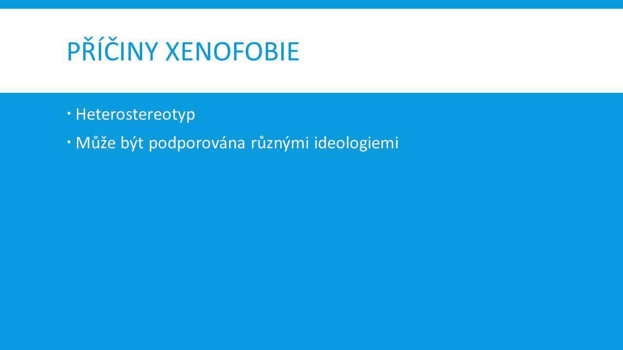 PŘÍČINY XENOFOBIE  Heterostereotyp  Může být podporována různými ideologiemi