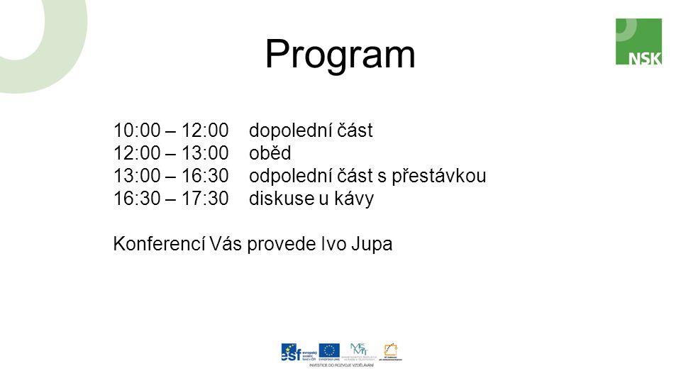 Program 10:00 – 12:00dopolední část 12:00 – 13:00oběd 13:00 – 16:30odpolední část s přestávkou 16:30 – 17:30diskuse u kávy Konferencí Vás provede Ivo Jupa