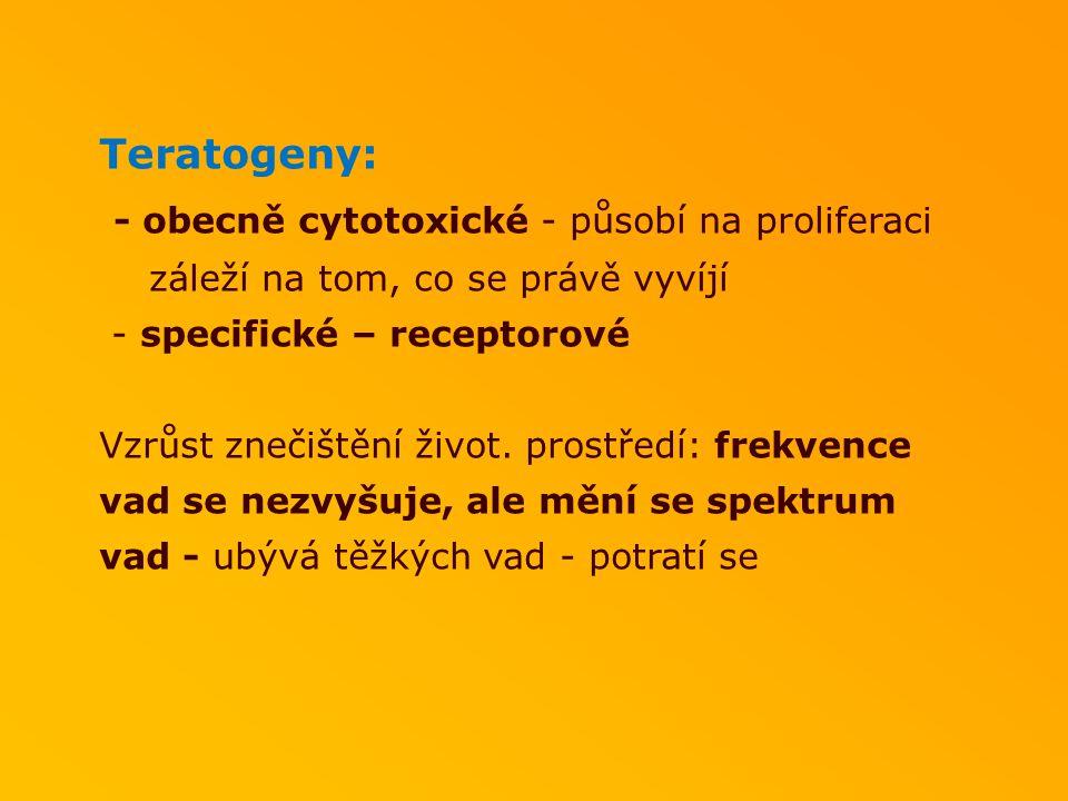 Teratogeny: - obecně cytotoxické - působí na proliferaci záleží na tom, co se právě vyvíjí - specifické – receptorové Vzrůst znečištění život. prostře