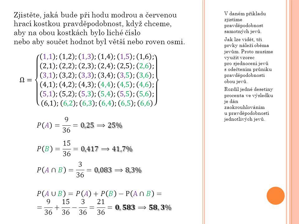 V daném příkladu zjistíme pravděpodobnost samotných jevů. Jak lze vidět, tři prvky náleží oběma jevům. Proto musíme využít vzorec pro sjednocení jevů
