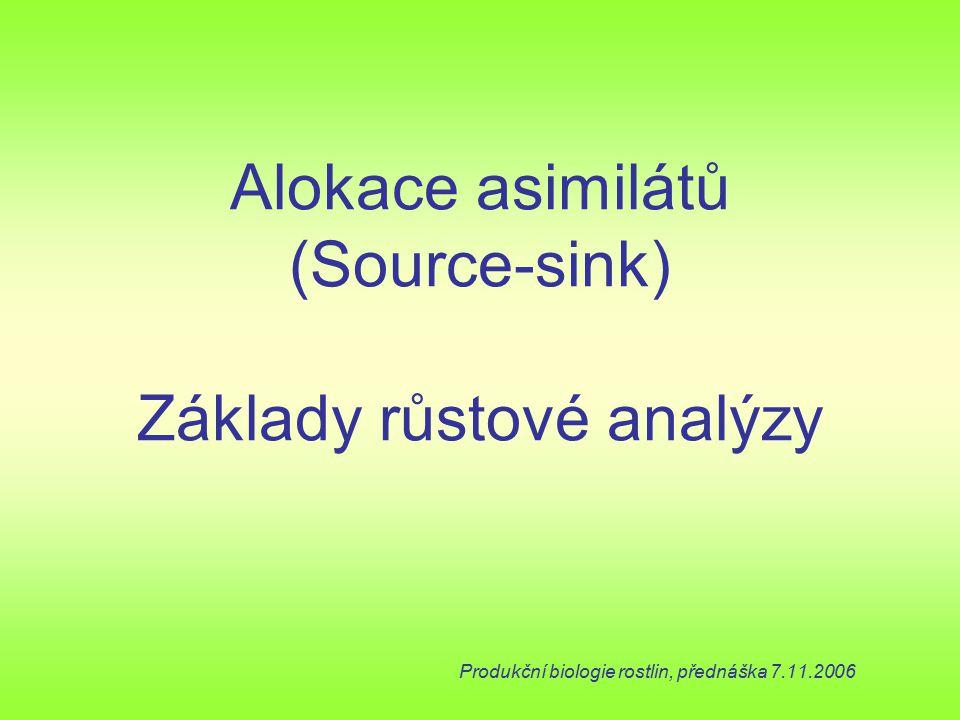 Alokace asimilátů (Source-sink) Základy růstové analýzy Produkční biologie rostlin, přednáška 7.11.2006