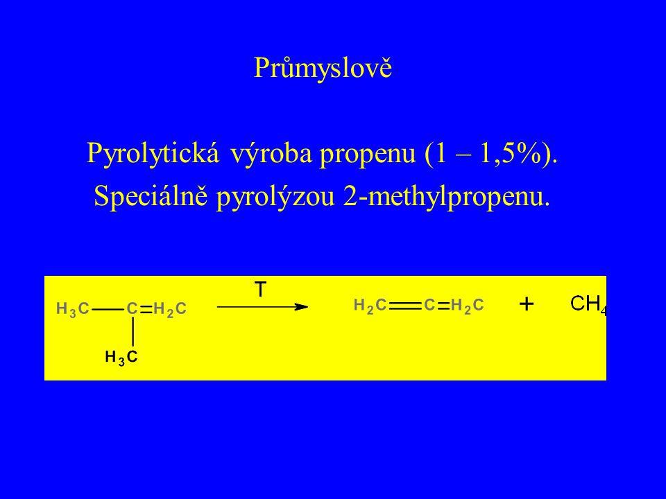 Průmyslově Pyrolytická výroba propenu (1 – 1,5%). Speciálně pyrolýzou 2-methylpropenu.
