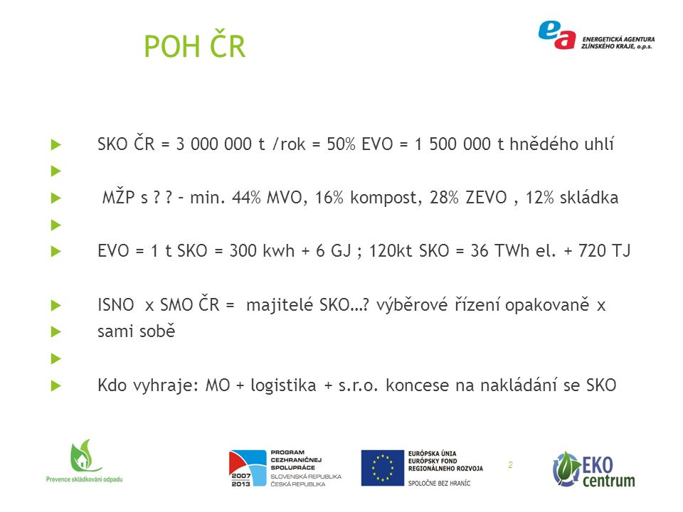 POH ČR  SKO ČR = 3 000 000 t /rok = 50% EVO = 1 500 000 t hnědého uhlí   MŽP s ? ? – min. 44% MVO, 16% kompost, 28% ZEVO, 12% skládka   EVO = 1 t