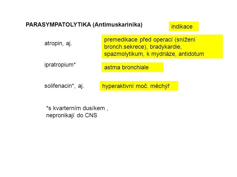 PARASYMPATOLYTIKA (Antimuskarinika) atropin, aj. ipratropium* solifenacin*, aj. hyperaktivní moč. měchýř astma bronchiale premedikace před operací (sn