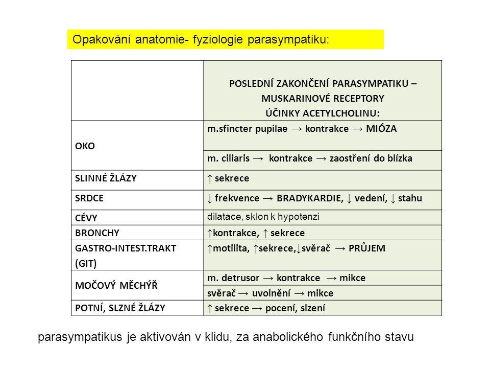 POSLEDNÍ ZAKONČENÍ PARASYMPATIKU – MUSKARINOVÉ RECEPTORY PARASYMPATOMIMETIKA -účinky PARASYMPATOLYTIKA Anticholinergika ANTIMUSKARINIKA účinky OKO m.sfincter pupilae → kontrakce → MIÓZA MYDRIÁZA, ZVÝŠENÍ NITROOČNÍHO TLAKU, CAVE GLAUKOM!!.