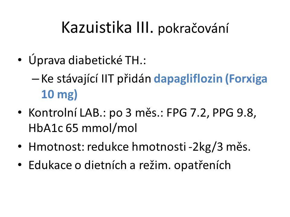 Kazuistika III. pokračování Úprava diabetické TH.: – Ke stávající IIT přidán dapagliflozin (Forxiga 10 mg) Kontrolní LAB.: po 3 měs.: FPG 7.2, PPG 9.8