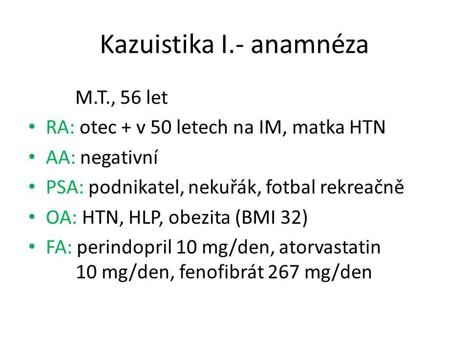 Kazuistika I.- anamnéza M.T., 56 let RA: otec + v 50 letech na IM, matka HTN AA: negativní PSA: podnikatel, nekuřák, fotbal rekreačně OA: HTN, HLP, ob