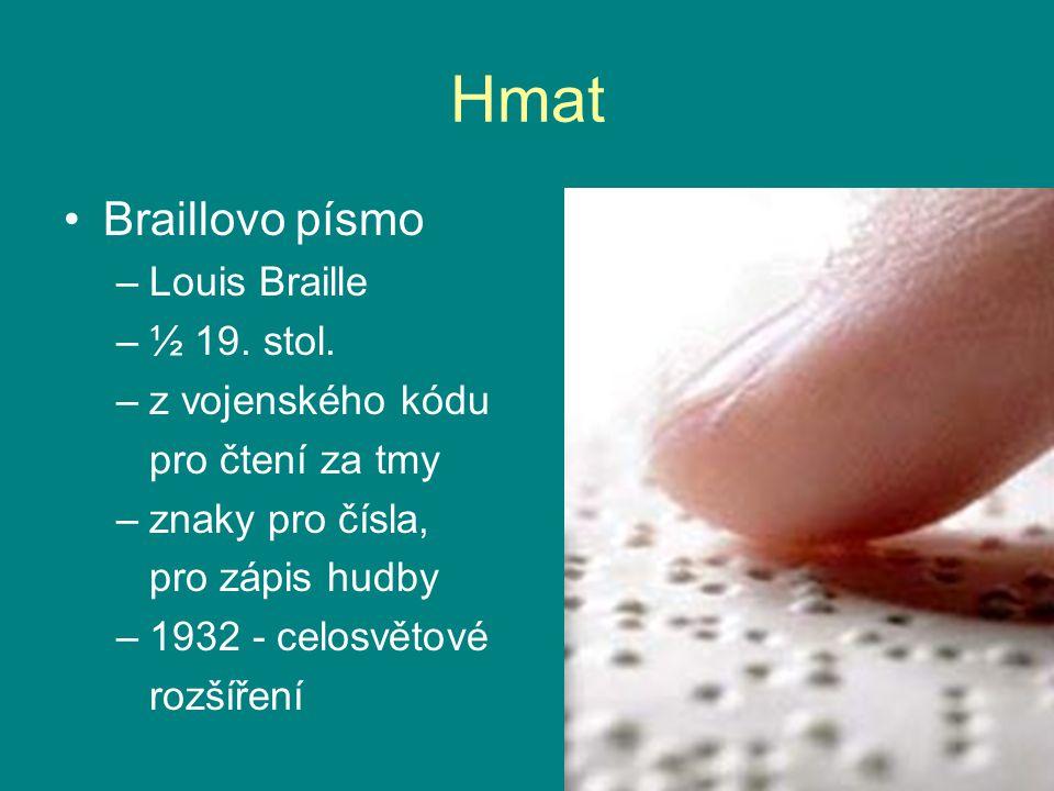 Hmat Braillovo písmo –Louis Braille –½ 19.stol.