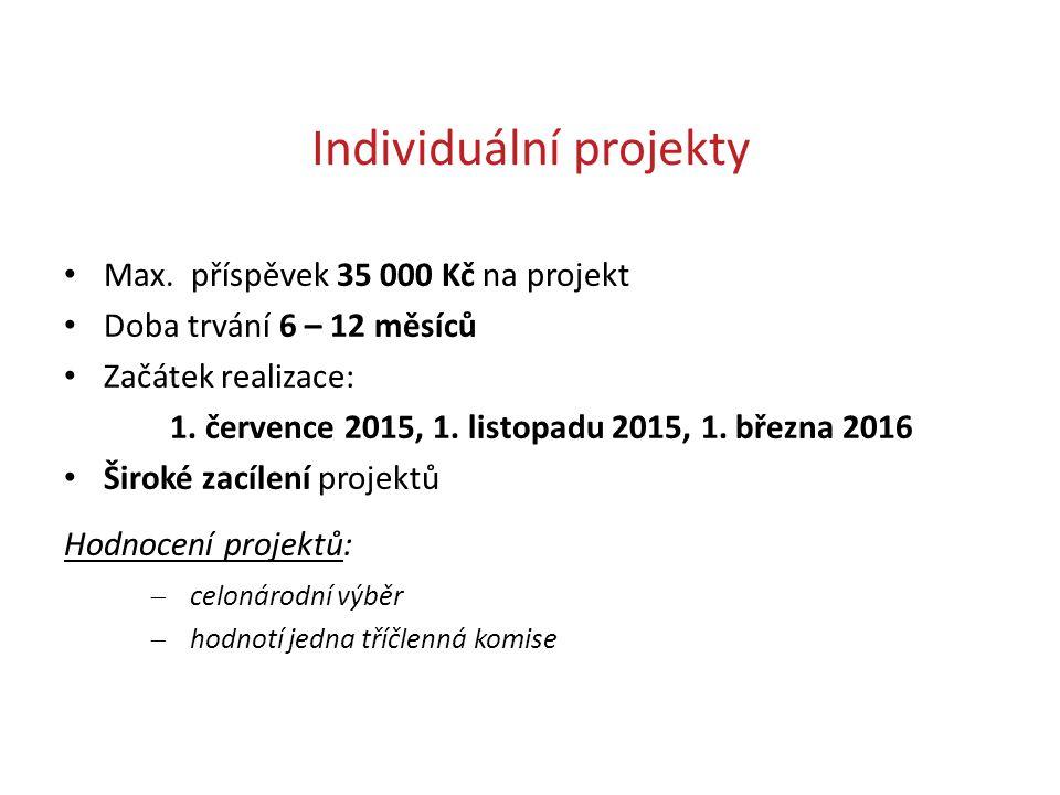 Individuální projekty Max. příspěvek 35 000 Kč na projekt Doba trvání 6 – 12 měsíců Začátek realizace: 1. července 2015, 1. listopadu 2015, 1. března