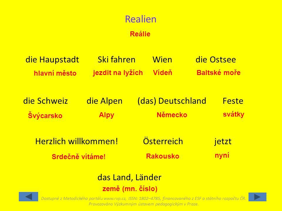 Reálie Srdečně vítáme.hlavní město Alpy Vídeň Rakousko jezdit na lyžích svátky země (mn.