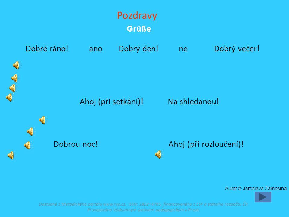 Stručný popis Nácvik a opakování slovní zásoby podle učebnice Deutsch mit Max díl 1 Einheit 0 Spuštění prezentace (F5) Modré snímky jsou ozvučeny : první kliknutí – německý výraz, další kliknutí – zvuk, žluté snímky ozvučeny nejsou.