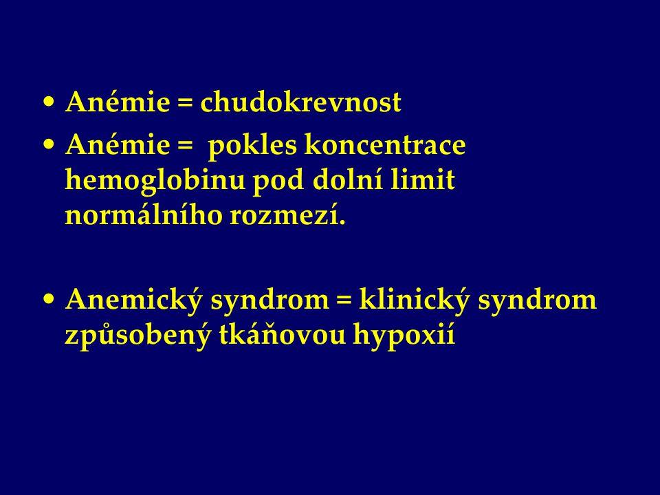 Anémie = chudokrevnost Anémie = pokles koncentrace hemoglobinu pod dolní limit normálního rozmezí. Anemický syndrom = klinický syndrom způsobený tkáňo