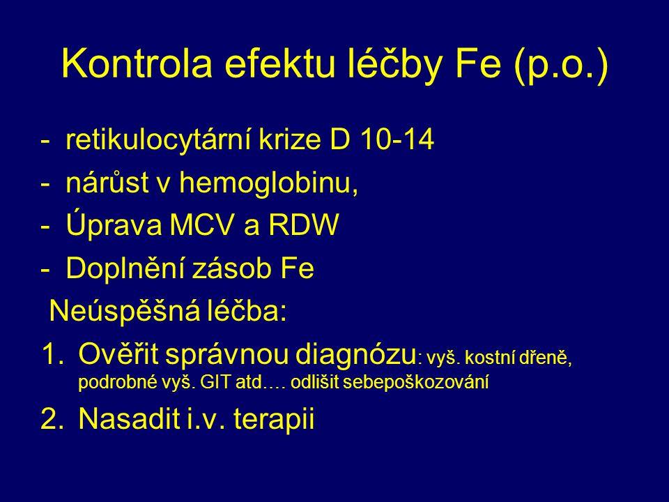 Kontrola efektu léčby Fe (p.o.) -retikulocytární krize D 10-14 -nárůst v hemoglobinu, -Úprava MCV a RDW -Doplnění zásob Fe Neúspěšná léčba: 1.Ověřit s