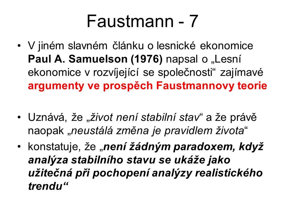 """Faustmann - 7 V jiném slavném článku o lesnické ekonomice Paul A. Samuelson (1976) napsal o """"Lesní ekonomice v rozvíjející se společnosti"""" zajímavé ar"""