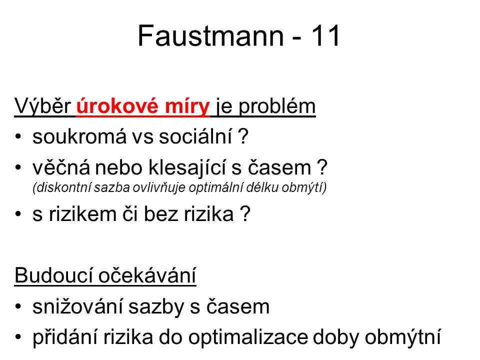 Faustmann - 11 Výběr úrokové míry je problém soukromá vs sociální ? věčná nebo klesající s časem ? (diskontní sazba ovlivňuje optimální délku obmýtí)