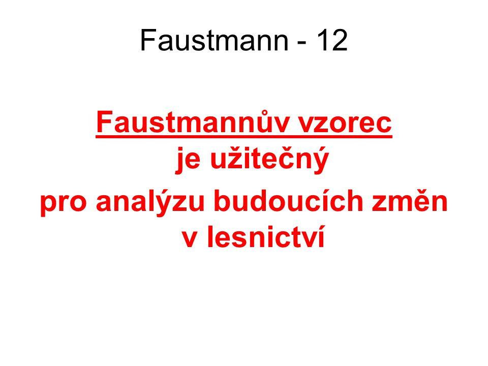 Faustmann - 12 Faustmannův vzorec je užitečný pro analýzu budoucích změn v lesnictví