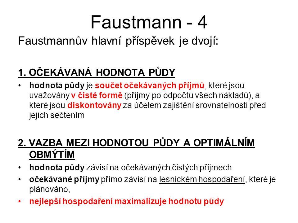 Faustmann - 5 Faustmannovy předpoklady (principy): Nekonečné řady obmýtí jsou –nápomocné pro matematické zjednodušení –užitečné pro praktické aplikace –politicky zajímavé pro kompatibilitu mezi -lesnickou ekonomikou -trvale udržitelným dlouhodobým výnosem -trvale udržitelným lesnickým hospodařením - Ačkoli je Faustmannův vzorec relativně omezeného významu, jelikož závisí na specifických podmínkách (řady jsou tvořeny obmýtím), Faustmannova teorie je mnohem silnější a může být využita i v současném rozvíjejícím se světě
