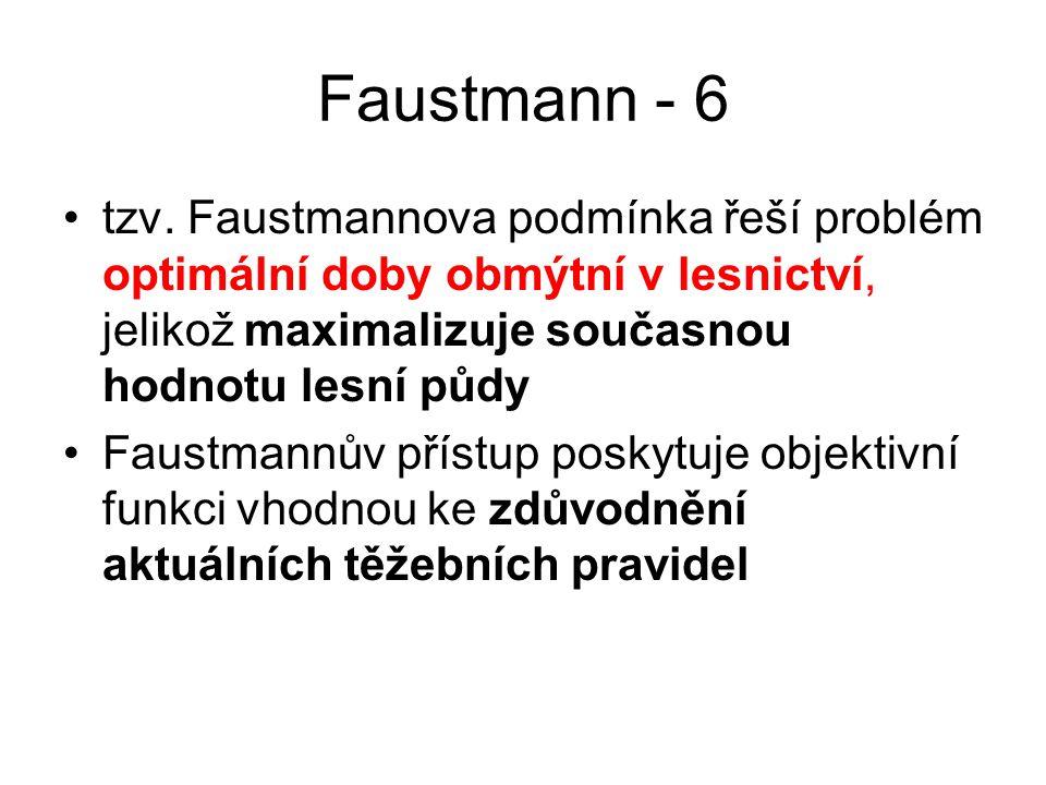 Faustmann - 6 tzv. Faustmannova podmínka řeší problém optimální doby obmýtní v lesnictví, jelikož maximalizuje současnou hodnotu lesní půdy Faustmannů