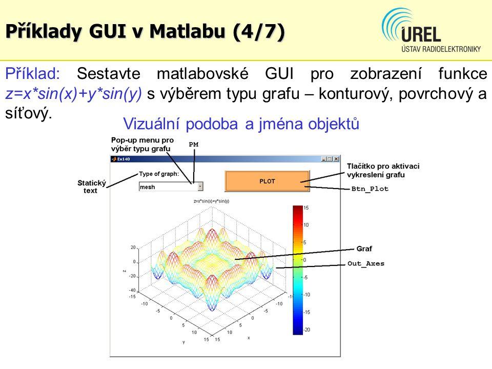 Příklady GUI v Matlabu (4/7) Příklad: Sestavte matlabovské GUI pro zobrazení funkce z=x*sin(x)+y*sin(y) s výběrem typu grafu – konturový, povrchový a