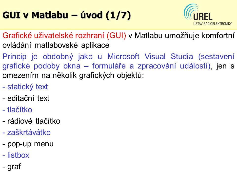 GUI v Matlabu – úvod (1/7) Grafické uživatelské rozhraní (GUI) v Matlabu umožňuje komfortní ovládání matlabovské aplikace Princip je obdobný jako u Mi