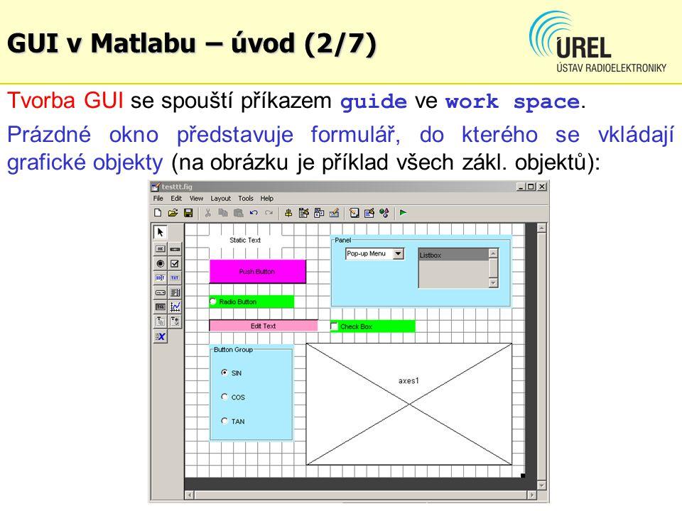 GUI v Matlabu – úvod (2/7) Tvorba GUI se spouští příkazem guide ve work space. Prázdné okno představuje formulář, do kterého se vkládají grafické obje