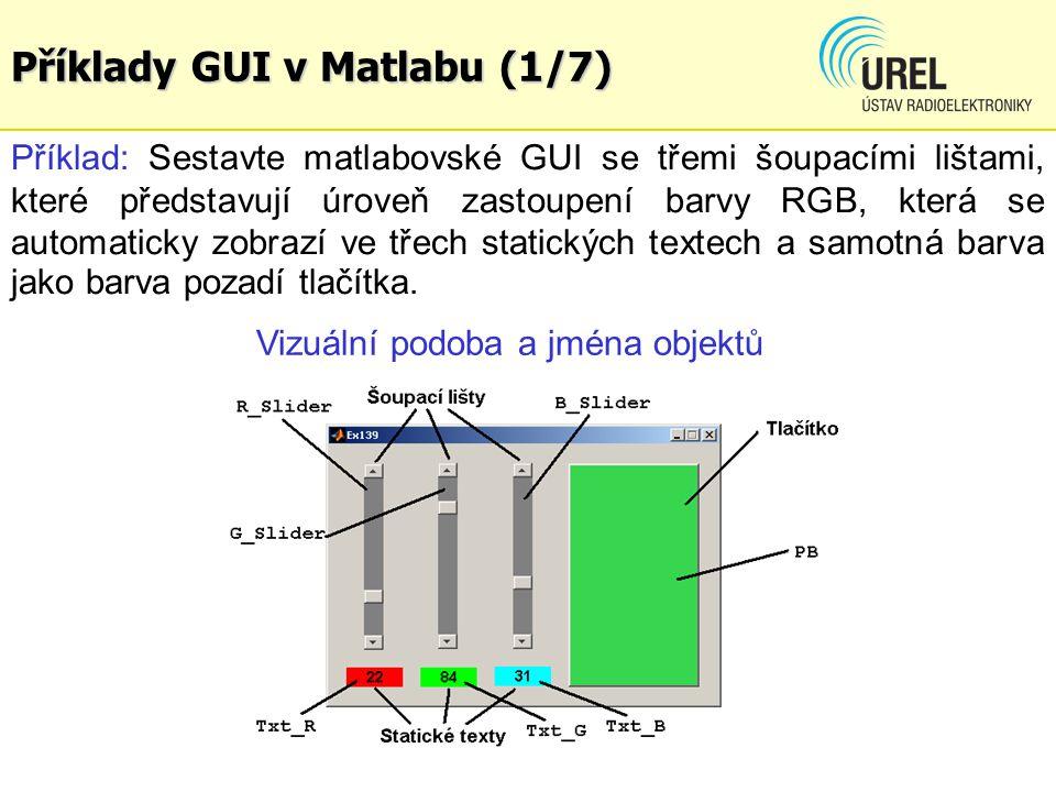 Příklady GUI v Matlabu (1/7) Příklad: Sestavte matlabovské GUI se třemi šoupacími lištami, které představují úroveň zastoupení barvy RGB, která se aut