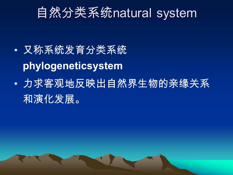 自然分类系统 natural system 又称系统发育分类系统 phylogeneticsystem 力求客观地反映出自然界生物的亲缘关系 和演化发展。