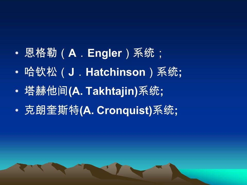 恩格勒( A . Engler )系统; 哈钦松( J . Hatchinson )系统 ; 塔赫他间 (A. Takhtajin) 系统 ; 克朗奎斯特 (A. Cronquist) 系统 ;