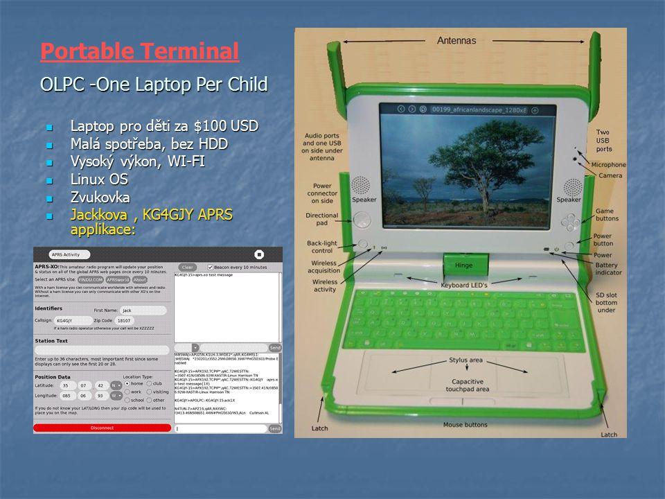 OLPC -One Laptop Per Child Laptop pro děti za $100 USD Laptop pro děti za $100 USD Malá spotřeba, bez HDD Malá spotřeba, bez HDD Vysoký výkon, WI-FI V