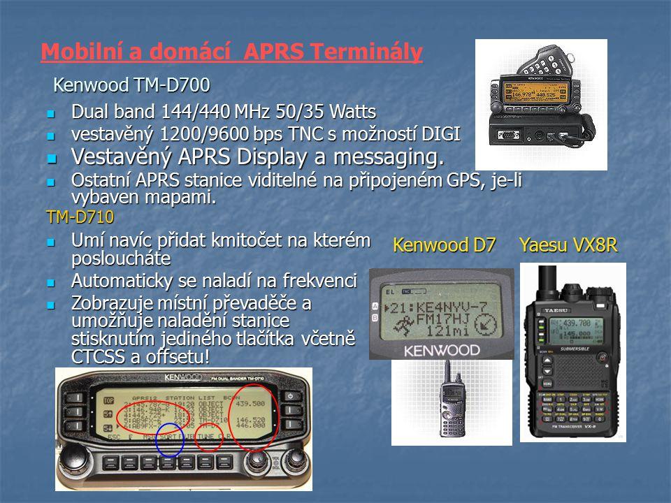 Kenwood TM-D700 Vestavěný APRS Display a messaging. Vestavěný APRS Display a messaging. Ostatní APRS stanice viditelné na připojeném GPS, je-li vybave