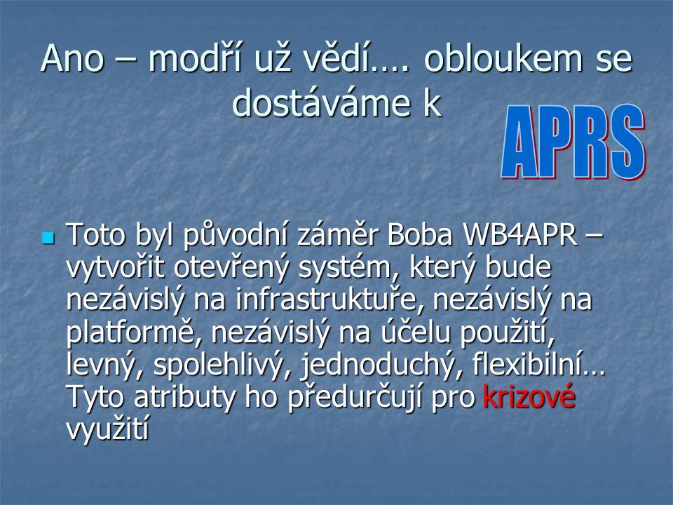 Ano – modří už vědí…. obloukem se dostáváme k Toto byl původní záměr Boba WB4APR – vytvořit otevřený systém, který bude nezávislý na infrastruktuře, n