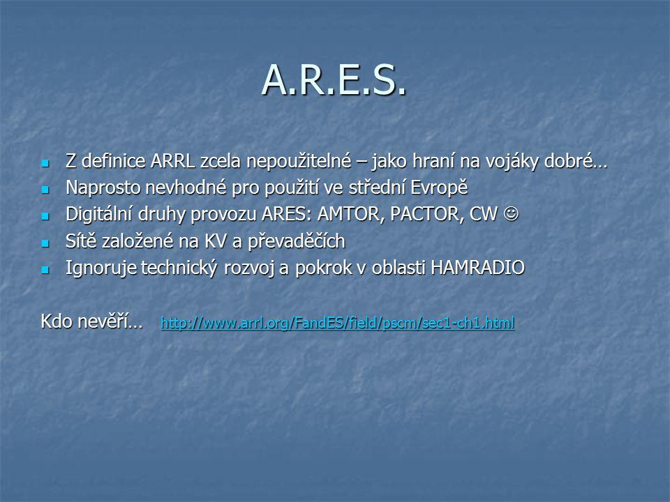 A.R.E.S. Z definice ARRL zcela nepoužitelné – jako hraní na vojáky dobré… Z definice ARRL zcela nepoužitelné – jako hraní na vojáky dobré… Naprosto ne
