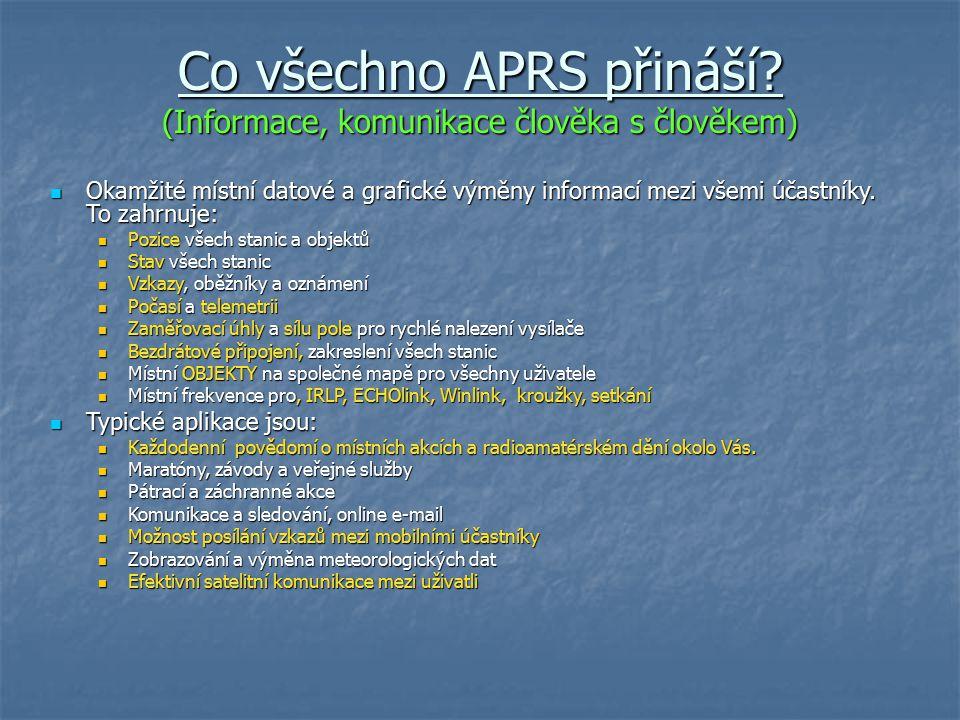 Co všechno APRS přináší? (Informace, komunikace člověka s člověkem) Okamžité místní datové a grafické výměny informací mezi všemi účastníky. To zahrnu