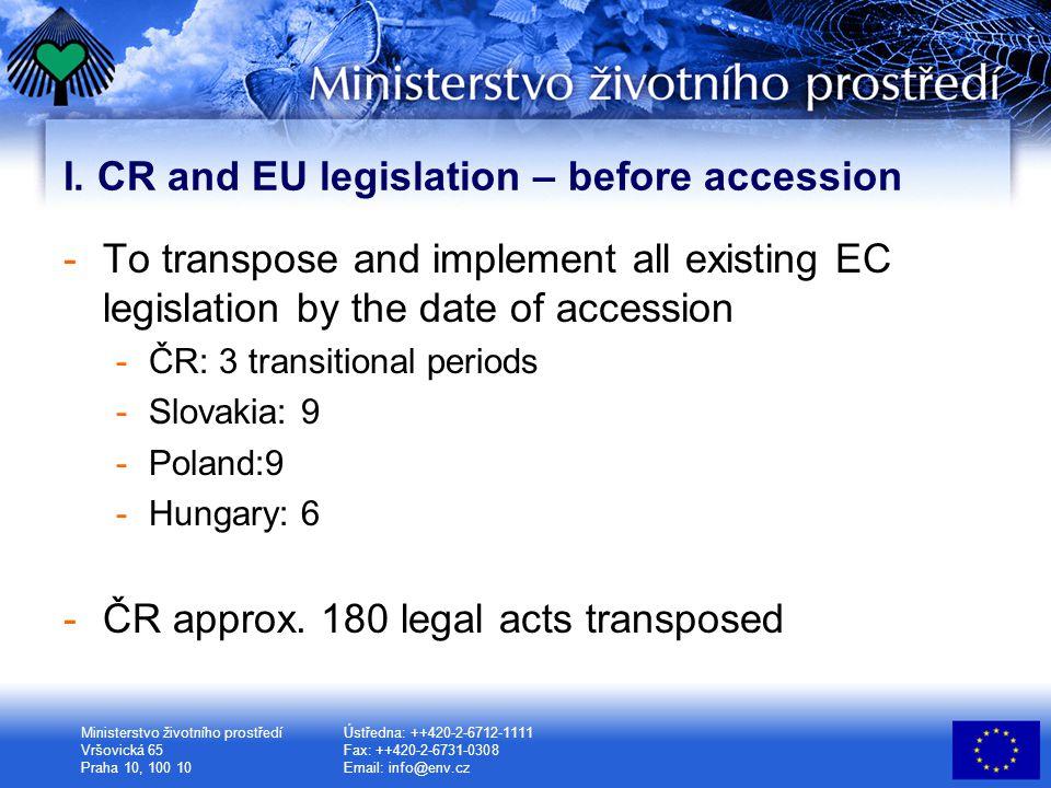 Ministerstvo životního prostředí Vršovická 65 Praha 10, 100 10 Ústředna: ++420-2-6712-1111 Fax: ++420-2-6731-0308 Email: info@env.cz I.