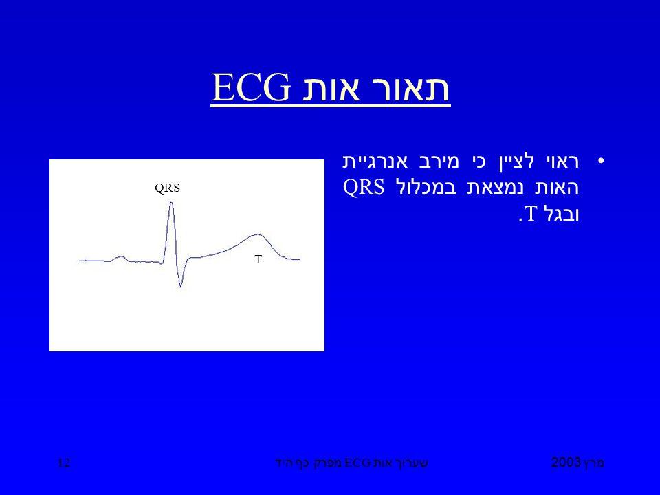 מרץ 2003 שערוך אות ECG מפרק כף היד 12 תאור אות ECG ראוי לציין כי מירב אנרגיית האות נמצאת במכלול QRS ובגל T.