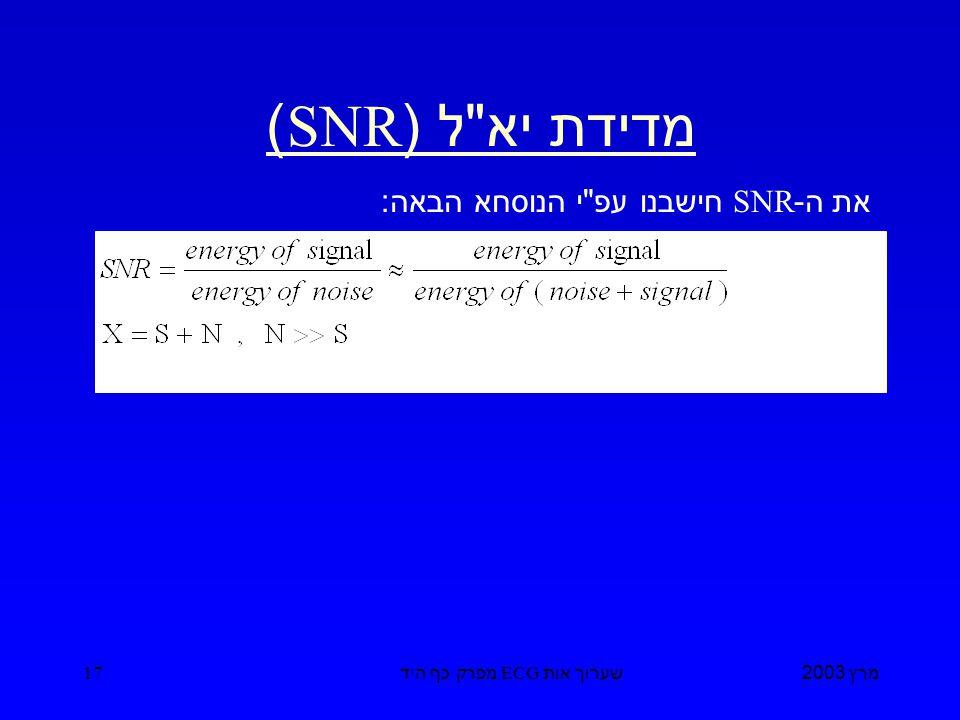 מרץ 2003 שערוך אות ECG מפרק כף היד 17 מדידת יא ל (SNR) את ה -SNR חישבנו עפ י הנוסחא הבאה :