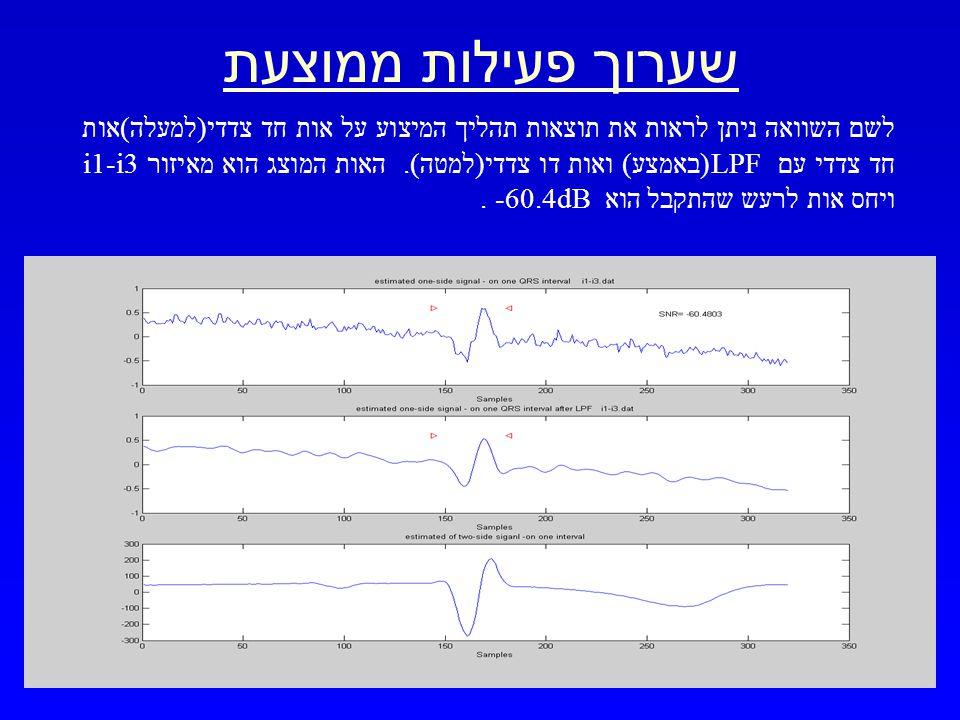 מרץ 2003 שערוך אות ECG מפרק כף היד 22 שערוך פעילות ממוצעת לשם השוואה ניתן לראות את תוצאות תהליך המיצוע על אות חד צדדי(למעלה)אות חד צדדי עם LPF(באמצע) ואות דו צדדי(למטה).